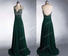 halter prom dresses chiffon prom dress green prom by sofitdress, $139.00
