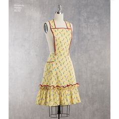 Take it back to the 1940s with these vintage Simplicity aprons. Pattern includes ruffled aprons with heart-shaped or rectangular bodice and side pocket, or apron with rick rack and two side pockets. Simplicity sewing pattern.