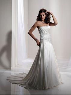 Luxurious Satin Strapless richly Draped Bodice A-line Wedding Dress