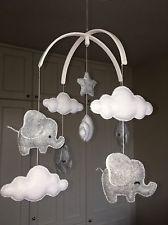Elephant cloud unisex grey hanging nursery mobile baby decoration shower christe