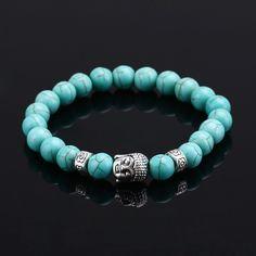 2016 Natural Stone bead Buddha Bracelets For Women and Men,Silver Buddha, Turquoise,Black Lava bracelet,pulseras mujer