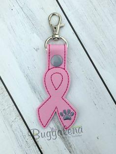 Awareness Ribbon w/Paw Snap Tab/Key Fob