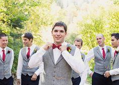 wedding groomsmen turquoise ties groom with red bowtie   Groomsmen with red ties and grey vests - Alixann Loosle Photography