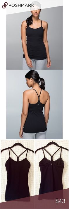 Lululemon Power Y Tank Lululemon Power Y Tank yoga / dance / gym / workout tank in black. In good condition. Lightweight mesh lining with an area to put padding.  Padding not included.  Size 2.  No trades / modeling.  {box14} lululemon athletica Tops Tank Tops