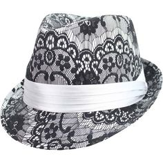 Silver Lace Fedora Top Hat ($19) ❤ liked on Polyvore featuring accessories, hats, silver, structured, wide brim hat, lace hat, crown hat, floral hat and trilby hat