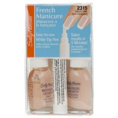 Sally Hansen 5 Minute French Manicure Pen Kit, Sheer Pink 2315 by Sally Hansen. $8.96. Innovative White Tip Pen. Easy to Use, Salon French Manicure in 5 Minutes!. Enough for Up To 50 Manicures. Touch-Ups are a Breeze. Also Great for Pedicures!. Easy to use, salon French manicure in 5 minutes! Innovative white tip pen. Contains: 1 Maximum Growth Treatment 0.45 fl oz (13.3 ml); 1 Maximum Growth Color 0.45 fl oz (13.3 ml); French Manicure Pen 0.16 fl oz (4.7 ml); ...