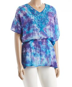 Look at this #zulilyfind! Turquoise Embellished Blouson Tunic - Plus by Aqua Blue #zulilyfinds