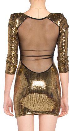 sheer back sequin dress