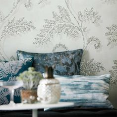 Lucero wallpaper by Harlequin features an elegant ornate trail design printed onto a holographic foil paper base with a clever 3D effect, creating a very bold and dramatic statement.This will look stunning in any home. Available from www.silkinteirors.com.au #wallpaper #wallpaperforwalls