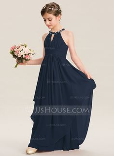 b33deb9e7be A-Line Scoop Neck Floor-Length Chiffon Junior Bridesmaid Dress With Ruffle  Beading (