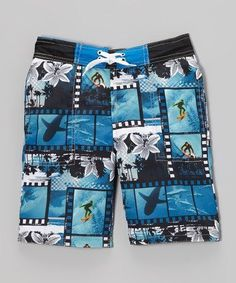 b28aa41052 Another great find on Candlesticks Blue Surf Photo Swim Trunks - Toddler &  Boys by Candlesticks