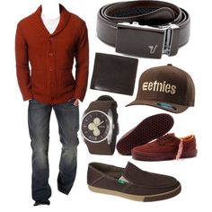 A fashion look from April 2013 featuring OBEY Clothing cardigans, sanuk shoes and Brixton wallets. Browse and shop related looks.