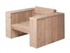Steigerhout lounge fauteuil, luxe doe het zelf tuinstoel. Tuinstoel van hout.