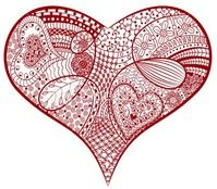 Red heart...I would love to send you one of my Zentangled Hearts! Have you ever heard of Zentangle? It sort of like doodling & coloring for grown-ups! :) Hey don't laugh (te he!)grown ups like to color too! What's your favorite thing to color?