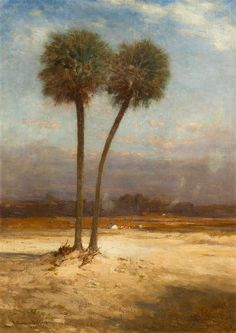 """""""Two Palm Trees,"""" Robert Swain Gifford, 1895, oil on canvas, 25 x 18"""", private collection."""