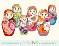 matryoshka - digital clipart - for photography, personal use and small business project by byhellopaper on Etsy