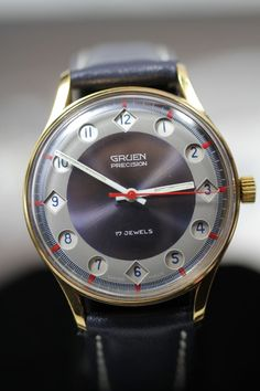 1960 Gruen Precision Jump 24 hour Vintage Men's Watch from vintagewatches on Ruby Lane..