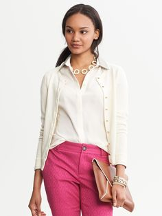  Pair a cardigan with a collared blouse  