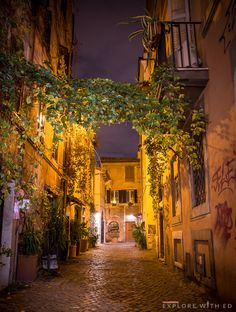 Charming side street in Trastevere, Rome.