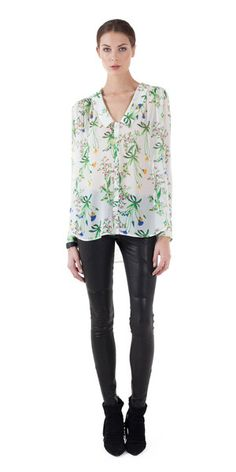 A delicate and sheer silk blouse in a soft, botanic floral print. - Marissa Webb exclusive print - Easy fit - Gentle high-low hem - V-neckline with collar - But
