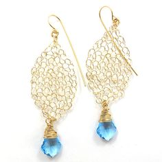 SariGlassman  knitted Earrings  Leaf Earrings  14k by SariGlassman, $58.00