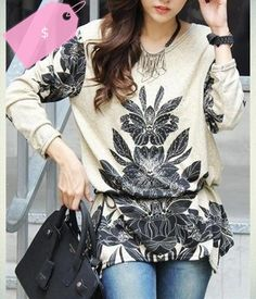 Stylish Women's Scoop Neck Long Sleeve Floral Print Knitwear with Belt
