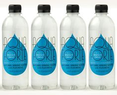 Bottled water with water drop shrink sleeve design.   #etiquette #bouteille…