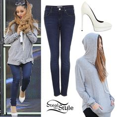 Ariana Grande rehearsed for her performance at the 2014 MuchMusic Awards yesterday wearing a Brandy Melville Layla Hoodie ($28.00), jeans similar to the Topshop MOTO Dark Vintage Wash Baxter Jeans ($20.00) and her Saint Laurent Janis Pumps ($775.00).                                                 -Steal Her Style Website