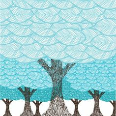 turquoise art pics | Avalisa Imagination - Forest Stretched Wall Art