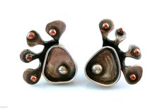Superb 1950s Ed Weiner Biomorphic Modernist Sterling Silver Copper Cufflinks - entirely handmade superb one of a kind design and eye-catching on the wrists!