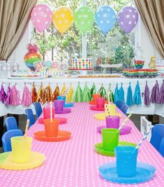 Rainbow party using Ikea kids plates and cups- && I just bought these too! Only $1.99 for each set (cheaper than paper) and about 7 in a set! Awesome idea!