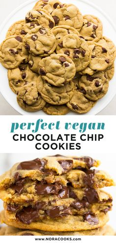 Tried and true, these are the most perfect vegan chocolate chip cookies ever! Made in 1 bowl and oh-so-soft, chewy and full of chocolate chips! Peanut Butter Dessert Recipes, Easy Cake Recipes, Vegan Sweets, Healthy Dessert Recipes, Cake Recipes Without Oven, Easy Vanilla Cake Recipe, Cake Recipes From Scratch, Vegan Recipes, Peanut Recipes