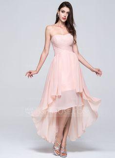 A-Line/Princess Sweetheart Asymmetrical Chiffon Bridesmaid Dress With Ruffle (007022746) - JJsHouse