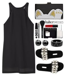 """Halter dress"" by simona-altobelli ❤ liked on Polyvore featuring MANGO, Miu Miu, Edie Parker, Alexis Bittar, MyStyle, polyvorecontest and halterdress"