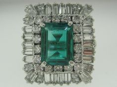 GONE GLAM HOLLYWOOD! Vintage 1950's Platinum Emerald and Diamond from chartreuse on Ruby Lane