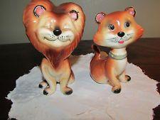 Vintage Lion and Lioness Salt & Pepper Shakers Norcrest Japan 4.5'' x 3''