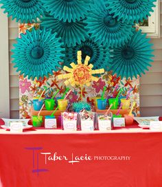 Gorgeous summer party dessert table! Love the backdrop! #summerparty #desserttable