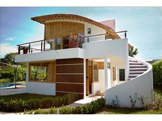 My Dream house. Bamboo House Design, Small House Design, Modern House Design, Bamboo Architecture, Architecture Design, Bamboo Building, Village House Design, Rest House, Tropical Houses