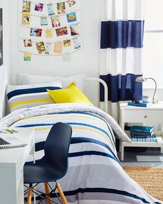 I had so much fun styling this dorm room for @Lacoste with brand new bedding from @bedbathandbeyond! #ad I used the colorful and striped new bedding collection as inspiration for the space, creating a stylish, playful and cozy room that's flexible around the needs of a college student. 💙💛 Now, to find a way to wind back the clock to make my old dorm room look this inviting…! 🤔😂 #MakeYouSmileStyle