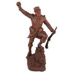 """GEORGES OMERTH, BRONCE """"SOLDADO"""" Escultura en bronce de soldado """"VERS LA LORRAINE"""". Fdo. G. OMERTH. Tiene un sello que dice """" VRAI BRONZE PARIS """". Medidas: 43 x 25 x 18 cm."""