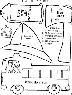 Fire Safety Printables Fire safety coloring sheet showing stop