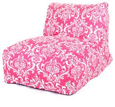 Indoor Hot Pink and White French Quarter Bean Bag Chair Lounger - modern - chairs - Majestic Home Goods Hot Pink Furniture, Bean Bag Furniture, Small Bean Bag Chairs, Cool Bean Bags, Damask Bedding, Classic Bean Bags, Bean Bag Lounger, Big Girl Rooms, Chairs For Sale