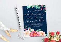 Anniversary Invitation Printable Floral Wedding by tranquillina