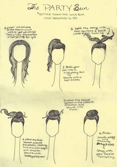 ~ Step by step tutorial for a party bun...turned out cute, but it would probably be easier if I didn't have layers. Or if my hair was longer. Still fairly cute and easy though.