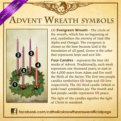 Advent Wreath Symbols - the advent wreath is a wonderful and beautiful Catholic tradition to remember the true meaning of Christmas and deeper your relationship with Christ True Meaning Of Christmas, 12 Days Of Christmas, Christmas Holidays, Christmas Decorations, Xmas, Christmas Tables, Nordic Christmas, Modern Christmas, Christmas Ideas