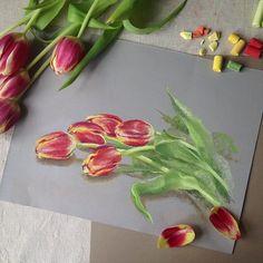 """412 Likes, 16 Comments - Elena (@lenokdih) on Instagram: """"И снова тюльпанчики #пастель #арт #рембрандт #цветы #тюльпаны #рисуемцветы #рисуемтюльпаны #этюд…"""""""