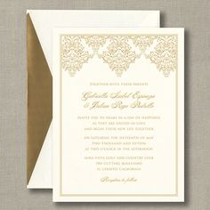 Gold Damask Scroll Warm White Wedding Invitations: Fancy scrollwork lends a vintage touch to this warm white invitation card that is sure to set a romantic tone for your event. The scroll & your personalization will print in gold. Each personalized invitation card comes with a warm white envelope.