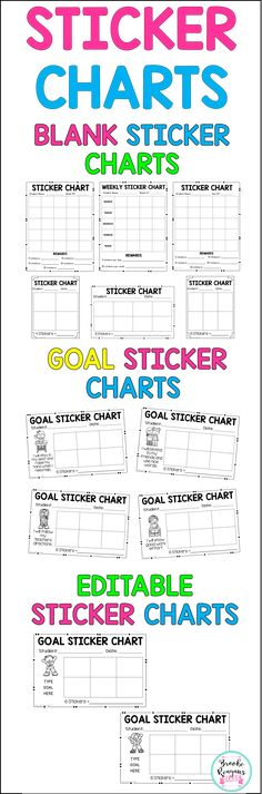 Adorable monster-themed sticker charts! Eight different designs - blank sticker chart