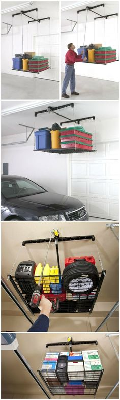Racor HeavyLift is the ceiling-mounted garage elevator that lets you load and lift storage items overhead, out of the way, without a ladder or much effort.