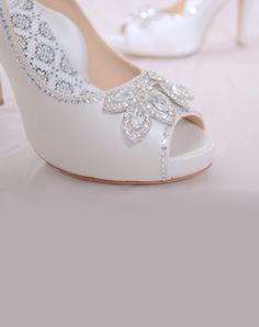 White silk satin peep-toe platform pump features rhinestone jewel and full Poron® padded insole with built-in arch support. Bridal Shoes, Wedding Shoes, Dream Wedding, Wedding Things, Wedding Stuff, Wedding Dresses, Wedding White, Prom Shoes, Wedding Hair